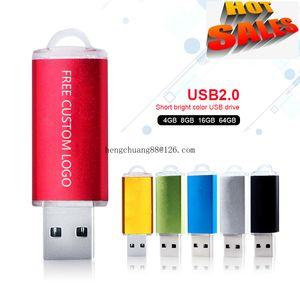 Free Custom Logo Usb Flash Drive 8G 16G Lid Pen Drive Thumb Drives Memory Stick Usb Key High Speed Multi-color Flash Drives 16gb