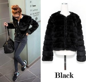 Wholesale 2019 casaco de pele falso Elegant Lady Faux Fur Jacket Long sleeve Winter Overcoat Girl s Fake Rex Rabbit Fur Outerwear L667 SH190930
