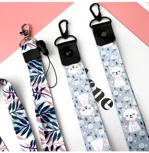 SWK-New Fresh Blue Bamboo ID Neck Holder Lanyard Fresh Color Mobile Phone Strap Wrist Ribbon Mobile Phone Shell Accessories