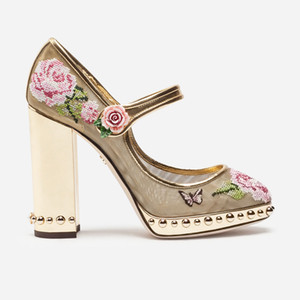Mesh Embroider Floral Women Pumps Brand Design Round Toe Women Wedding Dress Shoes Runway Rivet 10.5cm Square Heel Mary Janes