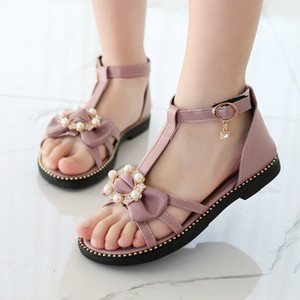 Girls Sandals For Children New Summer Fashion Princess Pearl Soft Child Child Student Flat Sandals