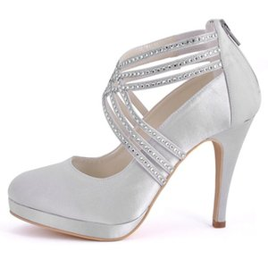Wholesale Woman Shoes High Heel Platform Pumps Ivory Wedding Bridal Shoes Rhinestone Zip Cross Strap Satin Bride Bridesmaid ladies Size