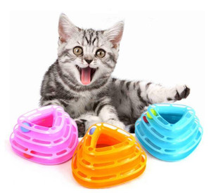 Wholesale XU0318 Hot Pet Cat Toy Plastic Three Levels Tower Tracks Disc Cat Toy Amusement Shelf Play Station Pet Cats Triple Play Disc Ball Toys