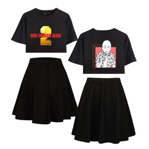 Wholesale 2019 ONE PUNCH MAN Short skirt suit Hot Short Sleeve T shirt and skirt suit Two Piece High Quality Casual New Sets