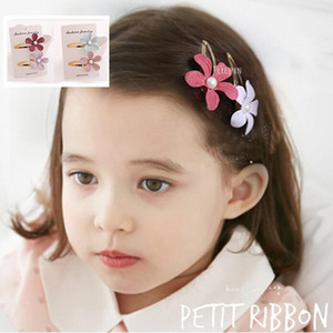 Wholesale Korean children s hair accessories tiara baby jewelry small fresh three dimensional pearl flower hairpin BB clip set