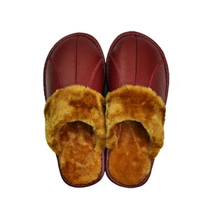 Wholesale Genuine Cow Leather slippers couple indoor non slip men women home fashion casual shoes PVC soft soles winter