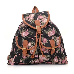Wholesale Floral Casual Girls Rose Backpack Cute School Rucksack Canvas