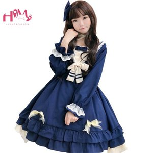 Wholesale Japan Lolita Cute Red Dress Women Cosplay Lace Kawaii Maid Vestidos Sailor Collar Vintage Ruffle Teen Girl Pleated Tutu Dresses