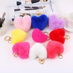 9 color Heart Ball Pom Pom keychain Fluffy Faux Rabbit Fur Pompom Key Chains Women Bag pendant Jewelry Key Chains Party gift