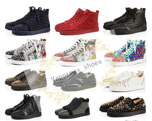 2019 Designer Sneakers Red Bottom Shoe Low Cut Suede spike Luxury Shoes For Men Women Shoes Party Wedding Crystal Leather Sneakers ll0014 on Sale