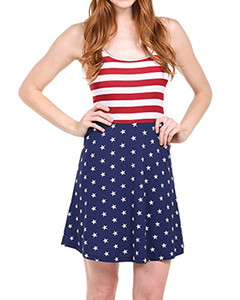 Wholesale Imily Bela Womens Backless Cami Dresses Summer Red White and Blue Patriotic Flag Dress