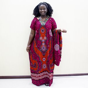 Traditional Print Sequins Short Sleeve Long Dress African Dashiki Casual Clothes For Women