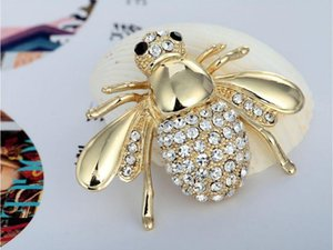 Wholesale Gold Siliver New High Quailty Fashion Rhinestone Animal Brooch Jewelry Lovely Alloy Bee Brooches Pins Accessories For Women Gifts