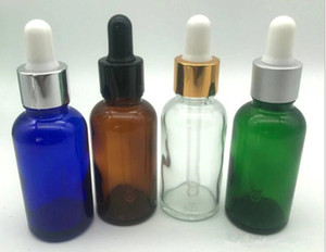 vape 30ml e liquid glass dropper bottle amber blue green clear white gold tamper evident cap for ejuice massage essential oil perfume bottle