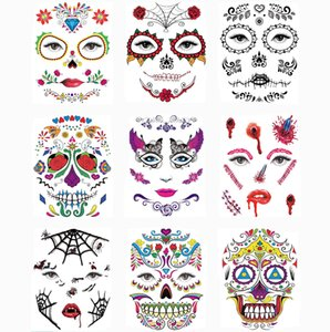 Wholesale 50pcs New Halloween Temporary Tattoo Sticker Day Of The Dead Face Mask Sugar Skull Tattoo Sticker