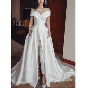 2019 Elegant Ivory Satin long Jumpsuit Evening Dresses Off Shoulder Prom Dresses With Pockets Custom Sweep Train V Neck Women Formal Gowns on Sale