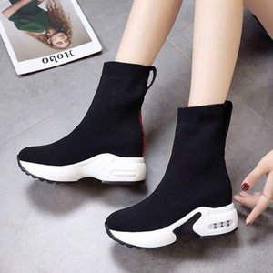 Wholesale Hot sell women s luxury increased elastic socks shoes Korean version of autumn winter show thin thick bottom pine cake slope and breathable