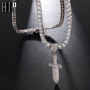 Wholesale Hip Hop Iced Out Bling Cubic Zirconia Sword Knife Necklaces Pendants For Men Rapper Jewelry With Tennis Chain