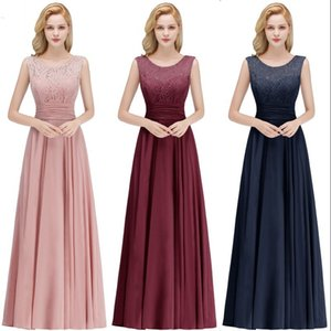 Wholesale Robe De Soiree Longo Pink Lace Long Chiffon Evening Party Dress Sexy V Back A Line Sleeveless Evening Gown Abendkleider CPS1068