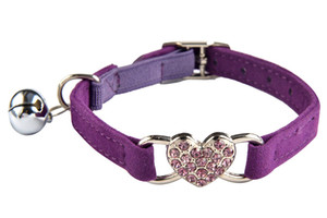 Wholesale Heart Bling Cat Collar with Safety Belt and Bell 8-11 Inches