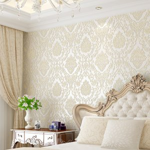 Wholesale damask home decor resale online - Modern Damask Wallpapers Embossed Textured D Wall Covering For Bedroom Living Room Home Decor