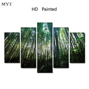 Wholesale Modern painting Clear Green bamboo scenery High Quality HD Printed Pieces Canvas Wall Art pictures for living room Home Decor no framed