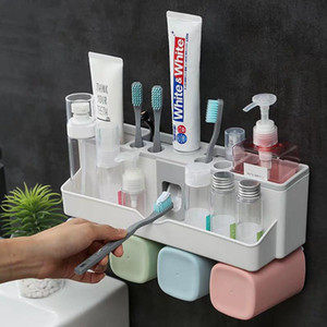 Wholesale plastic toothpaste squeezer resale online - Toothbrush Holders Aotumatic Toothpaste Squeezer Dispenser Bathroom Accessories Sets Bathroom Storage Box Case Household Items with Cups