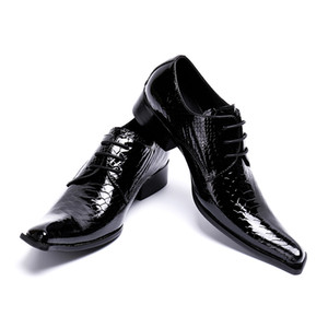 Real Cow Leather Black Patent Leather Python Patter Man Dress Shoes Fashion Pointy Lace Up Oxford Height Increased Party Shoe