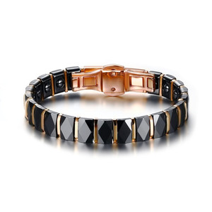 Wholesale Men Stainless Steel 2-tone Ceramic Magnetic Therapy Bracelet For Male Female Unisex Trendy Jewelry Black Rose Gold-color 19cm J190719