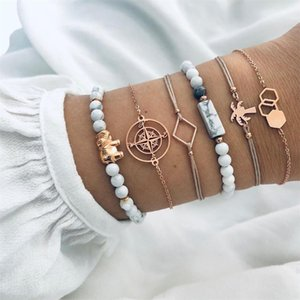 Wholesale Bohemian Lady Bracelets Compass Coconut Tree White Beads Geometric Leather Gold Bracelet Set Fashion Women Birthday Party Gifts