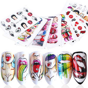 Wholesale 9pcs Nails Water Decals Sexy Lips Pop Nail Sticker Cool Girl Watermark Beauty Slider Decorations Manicure