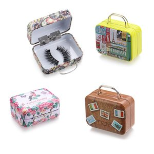 Wholesale false eyelashes package for sale - Group buy Creative Fashion False Eyelashes Box New Design Suitcase Pattern Eyelash Package Steel Mink Lashes Tray Makeup Tools