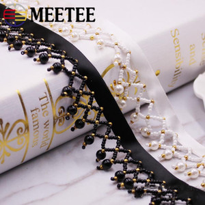 Wholesale Meetee CM Hand Nail Beads pearl Tassel Lace Black White Stage Ribbon Folk Curtains Decoration DIY Clothing Accessories ZK5119