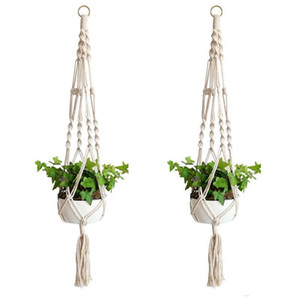 Wholesale pots for sale - Group buy Plant Hangers Macrame Rope Pots Holder Rope Wall Hanging Planter Hanging Basket Plant Holders Indoor Flowerpot Basket Lifting