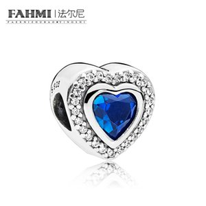 FAHMI 100% 925 Sterling Silver 797608NANB Sparkling Night Blue Love Heart Charm Beaded Original Jewelry Women's Wedding Holiday