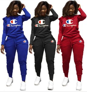 Champions women ruffle 2 piece set fall winter Embroidery tracksuit t-shirt pants sweatsuit outwear hoodies leggings outfits hot sell 1190 on Sale