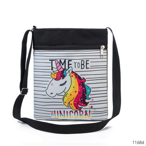 Wholesale 2019 New Cartoon Unicorn Messenger Bag Horse flower Prints Strip Shoulder Bags Crossbody Bag