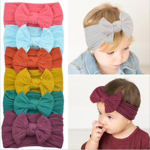 Wholesale Girls Headband Baby Bowknot Turban Girl Solid Soft Headwraps Kids Boutique Princess Headbands Nylon Fashion Photo Hair Accessories B6047