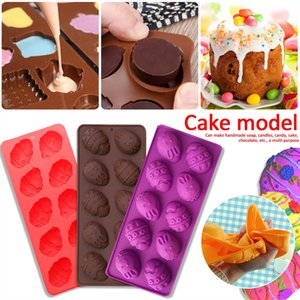 Wholesale 10 Cavity Easter Egg Mold Easter Egg Bunny Shaped Silicone Chocolate Mold Easter Cake Chocolate Mold Random Color Delivery