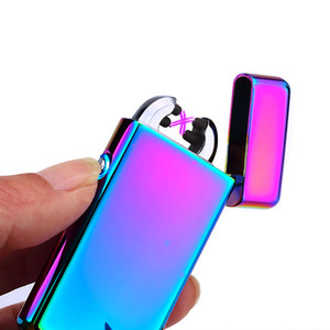 Plasma arc Lighter Double arcs Electrical USB Rechargeable windproof cigarette Lighter touch sensitive control ignition power display C03401