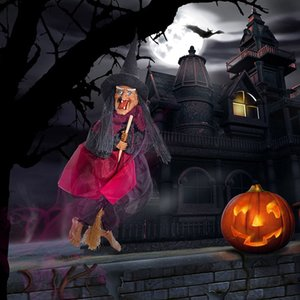 Halloween Decoration Hanging Witch Dolls Voice Control Prop Animated Ghost Scary Riding Broom Wall Hang Party Outdoor Home Decoration Toys