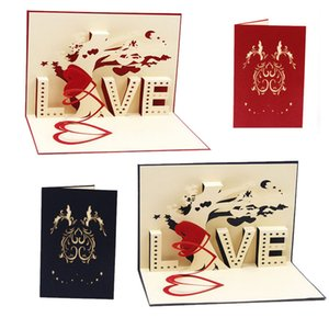 Wholesale 10 cm D Pop Up Cards Cupid Heart Happy Valentine Anniversary Birthday Christmas good quality