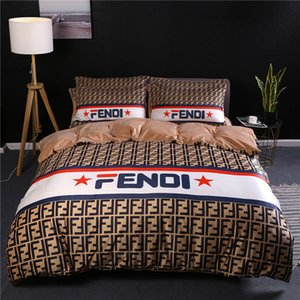 Wholesale Brown F Letter Print Bedding Sets Stripe Queen King Size Full Letter Soft Nap Bedding Suit Fashion Bedding For Men And Women