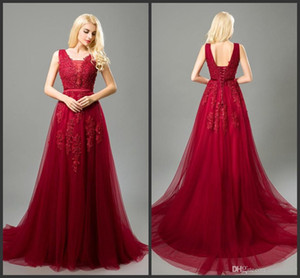 2019 New Sexy Cheap Prom Dresses Long Deep V Neck Tulle Lace Appliques with Pearls Formal Party Dresses Royal Blue Burgundy Pink Prom Gown on Sale