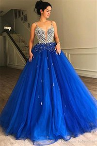 Wholesale royal blue quinceanera dress rhinestones for sale - Group buy Royal Blue Sweet Quinceanera Dresses Beadings Rhinestones Top Spaghetti Evening Dresses Women Occasion Formal Party Gowns