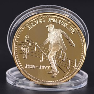 ingrosso elvis presley art-rock star americana Elvis Presley Il Re del rock n roll Oro Art commemorativa regalo Coin