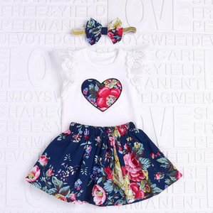 baby infant 3pcs outfit set gold bow elastic headband+ruffle lace sleeve flower hear summer white shirt+blue flower skirt new born clothing