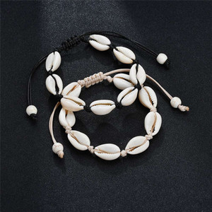 Wholesale charm bracelet seashells resale online - Handmade Shell Bracelets Natural Seashell Hand Knitted Adjustable Rope Bangles for Women Girls Accessories Beaded Strand Beach Jewelry Charm