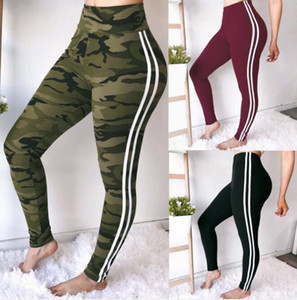 Wholesale Women Sports Jogger Pants Skinny Athletic Sweatpants Striped Camouflage Pantalones