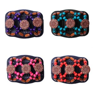 Flower Retro Double Beaded Hair Magic Comb Clip Beads Elasticity Hairpin Stretchy Hair Combs Pins for Women Accessories